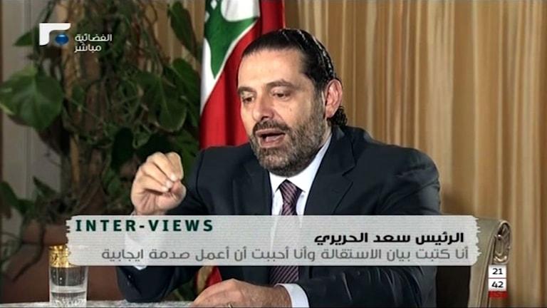 Libanons premiärminister Saad al-Hariri i en tv-intervju.