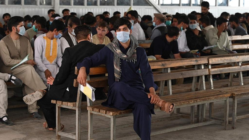Människor i staden Kabul köar för att få pass.