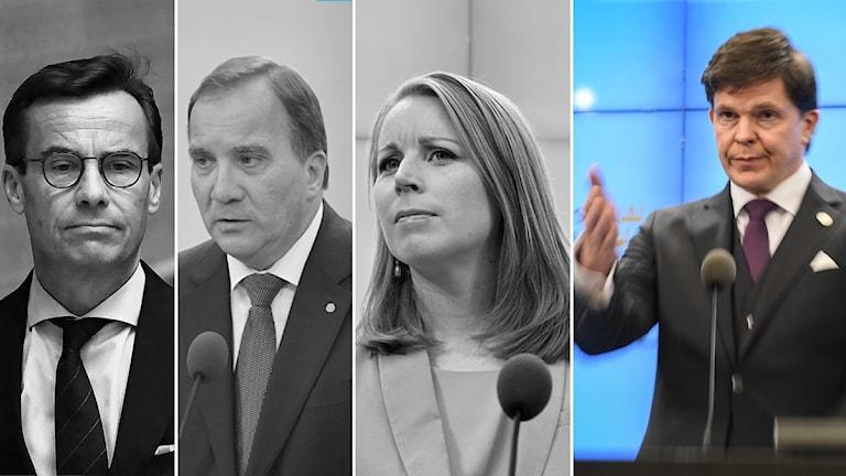 Partiledarna och talmannen.