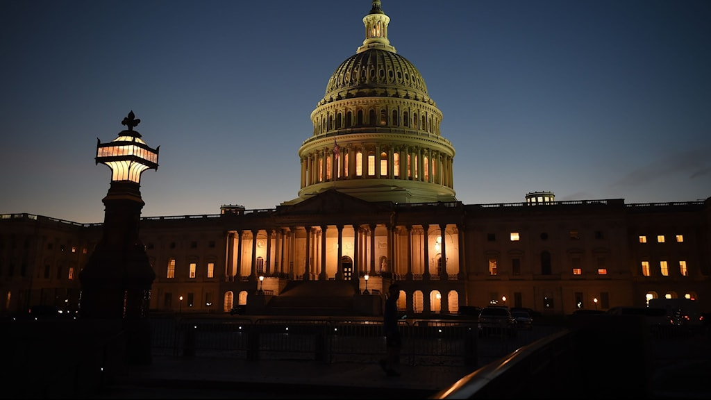 USA:s kongressbyggnad i mörker