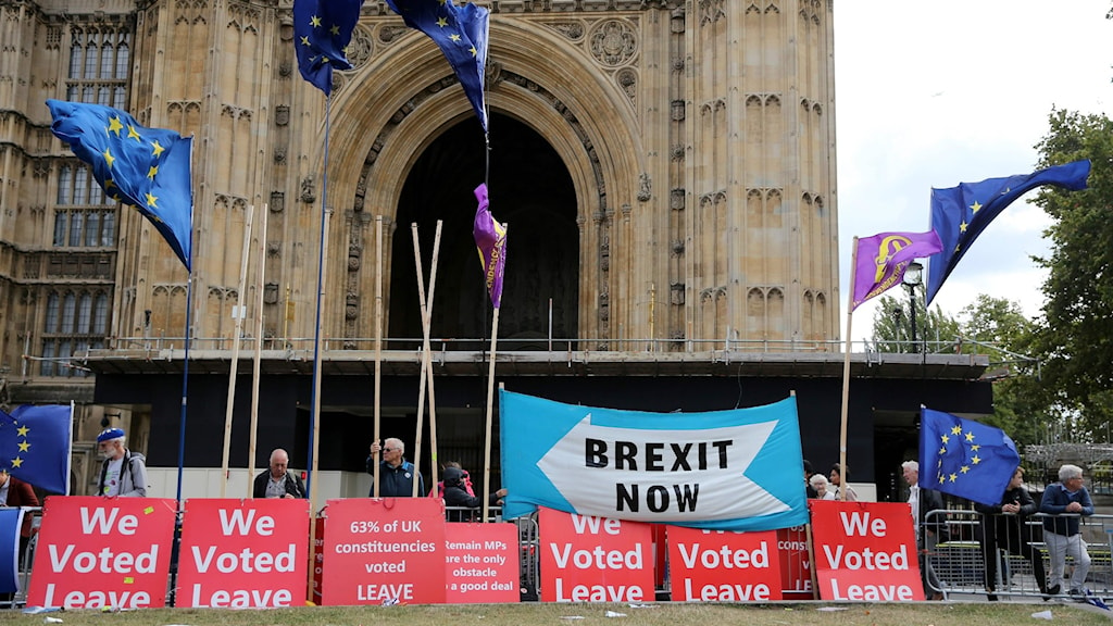 Protester både för och emot EU utanför parlamentet under onsdagen.