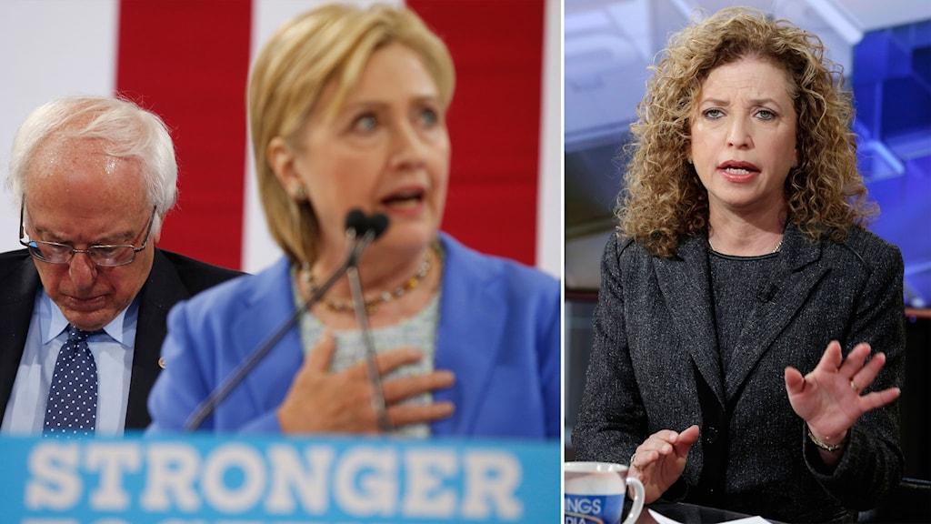 Delad bild: Sanders och Clinton, Wasserman Schultz