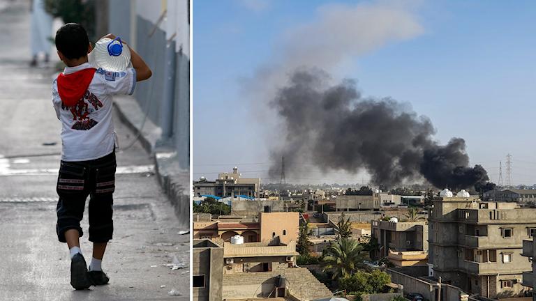 Delad bild: pojke går med vattenflaska på axeln, rök som stiger upp från ett bostadsområde.