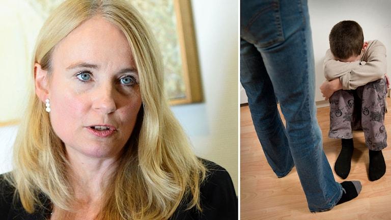 Bildmontage: Hedvig Trost, byråchef på Åklagarmyndigheten och ett barn som sitter hopkrupet på golvet.