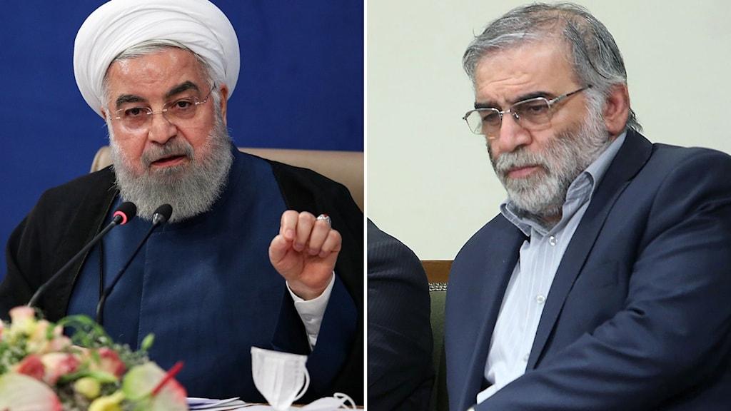 kärnenergiforskaren Mohsen Fakhrizadeh och Irans president Hassan Rouhani