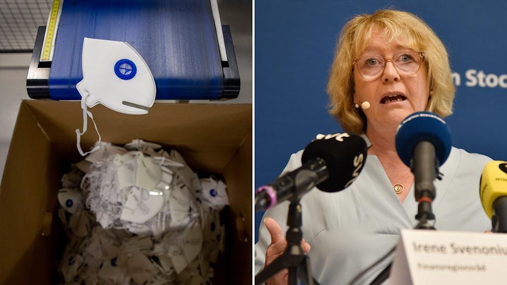 Till vänster: skyddsmasker. Till höger regionrådet Irene Svenonius (M).