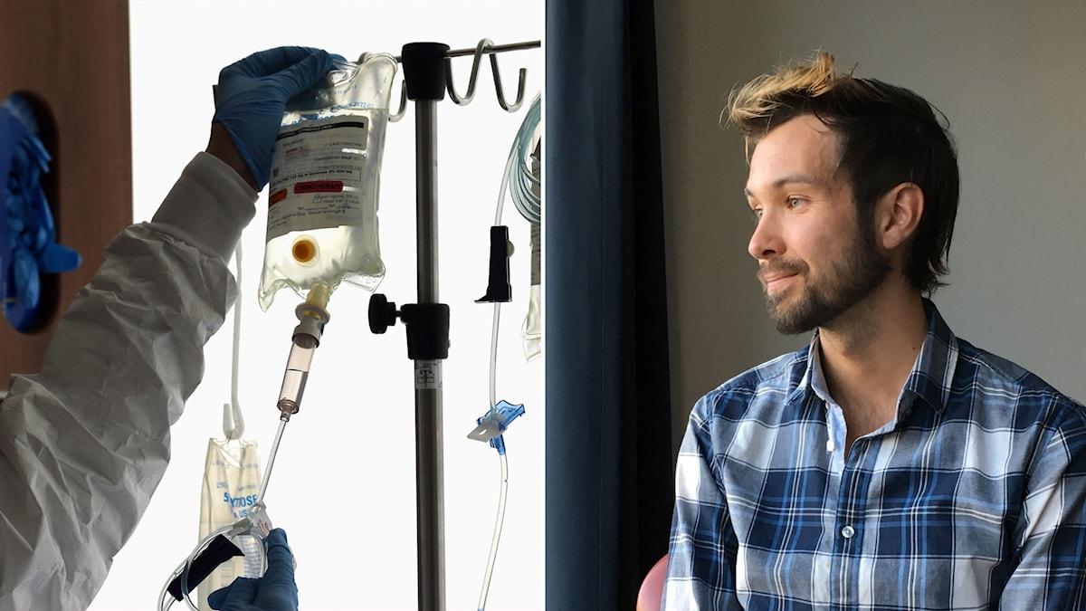 Cellgifter och bild på Isak Thern som behandlades för en hjärntumör 17 år gammal.