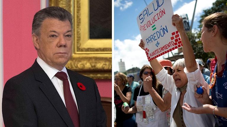 Colombias president Juan Manuel Santos. Demonstranter i Caracas, Venezuela.