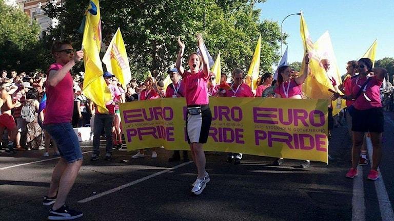 Britta Davidsohn leder svenska deligationen i Europride i Madrid.