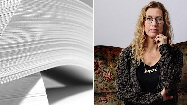 Hög med papper och journalisten Johanna Lindqvist.