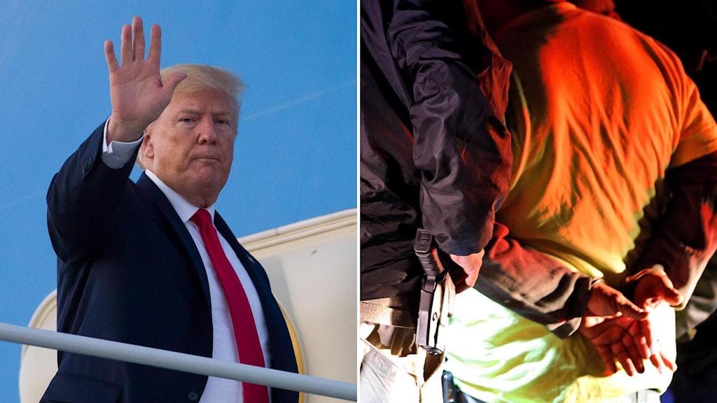 Amerikansk polis jämte man i handfängsel och Donald Trump.