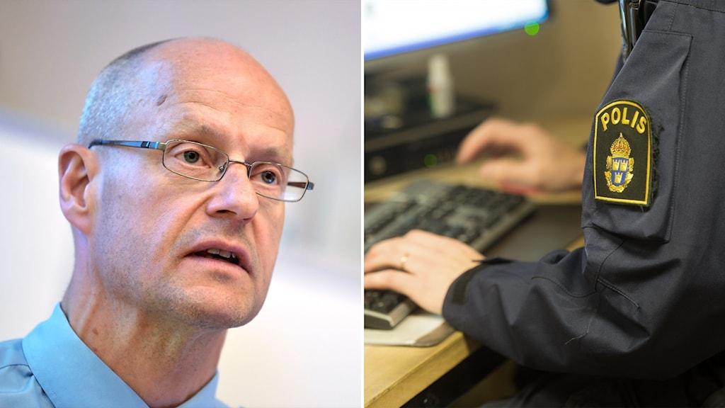 Splitbild på Mats Löfving och en polis som sitter vid en dator.