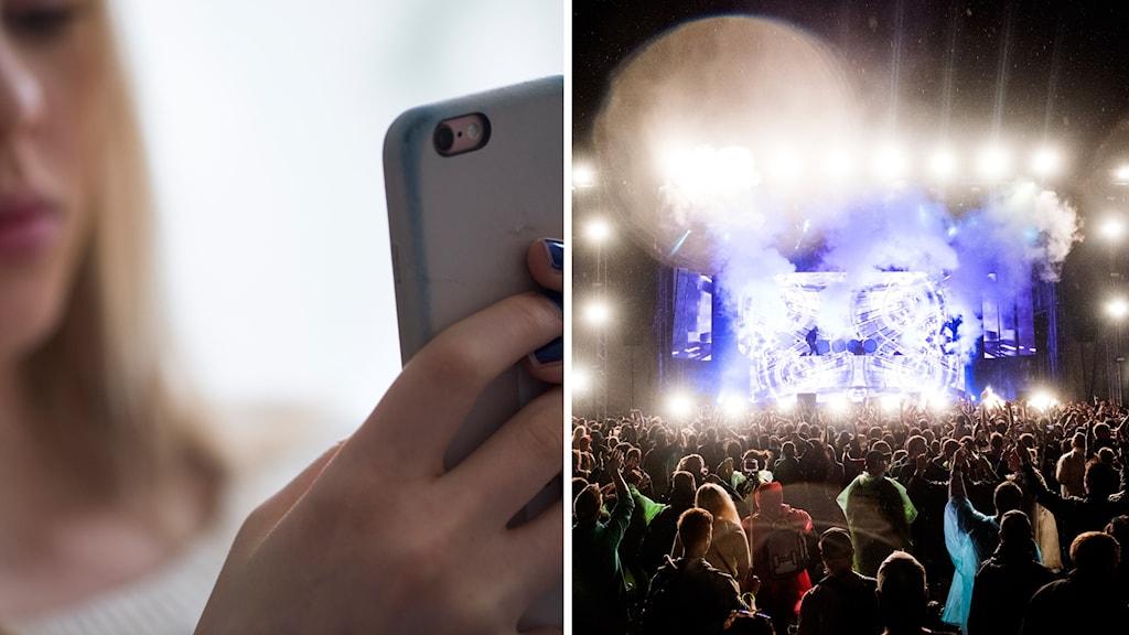 En tjej med mobil och publik på festival.