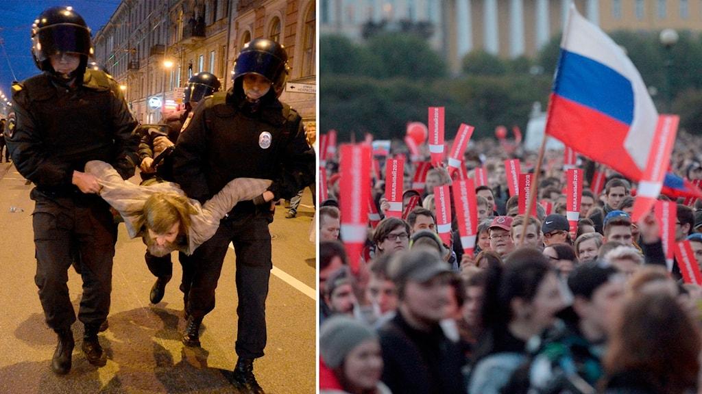 Polis och demonstranter