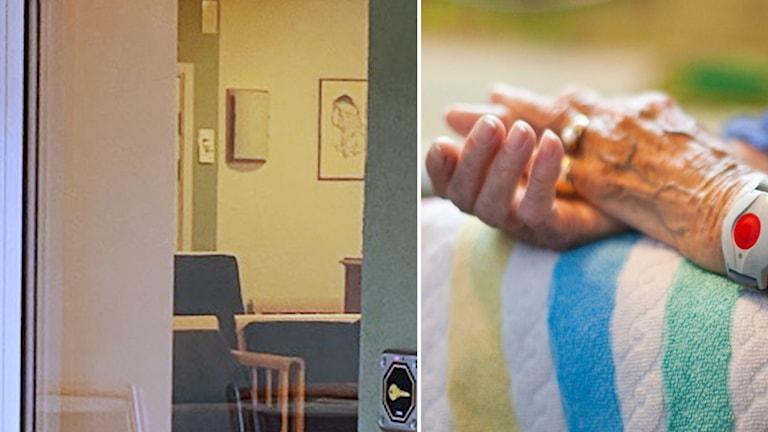 Tvådelad bild, till vänster syns en bild tagen gemom ett fönster, det syns fåtöljer och byrå framför och på sidan av dörr som just och jämt syns. Till höger en genrebild på en äldre persons händer.