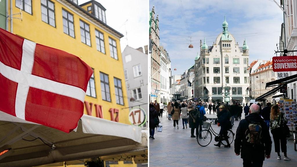 En dansk flagga och ett shoppingstråk i Köpenhamn.