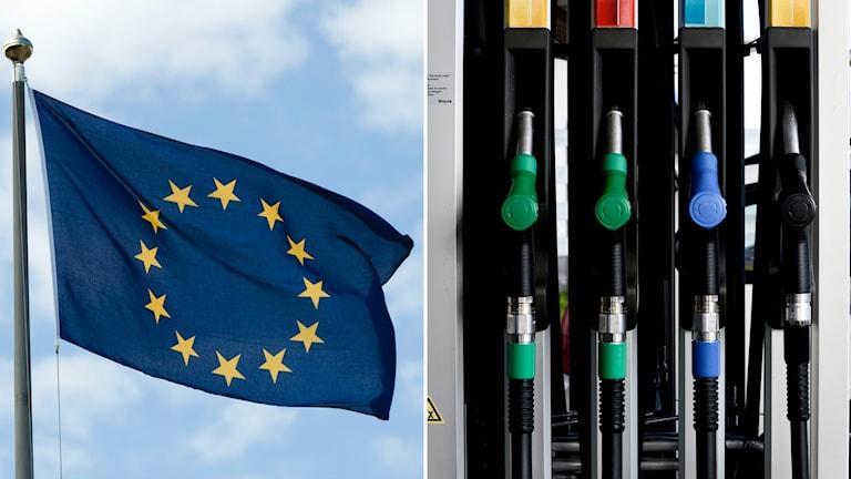 eu-flagga, olja, tanka