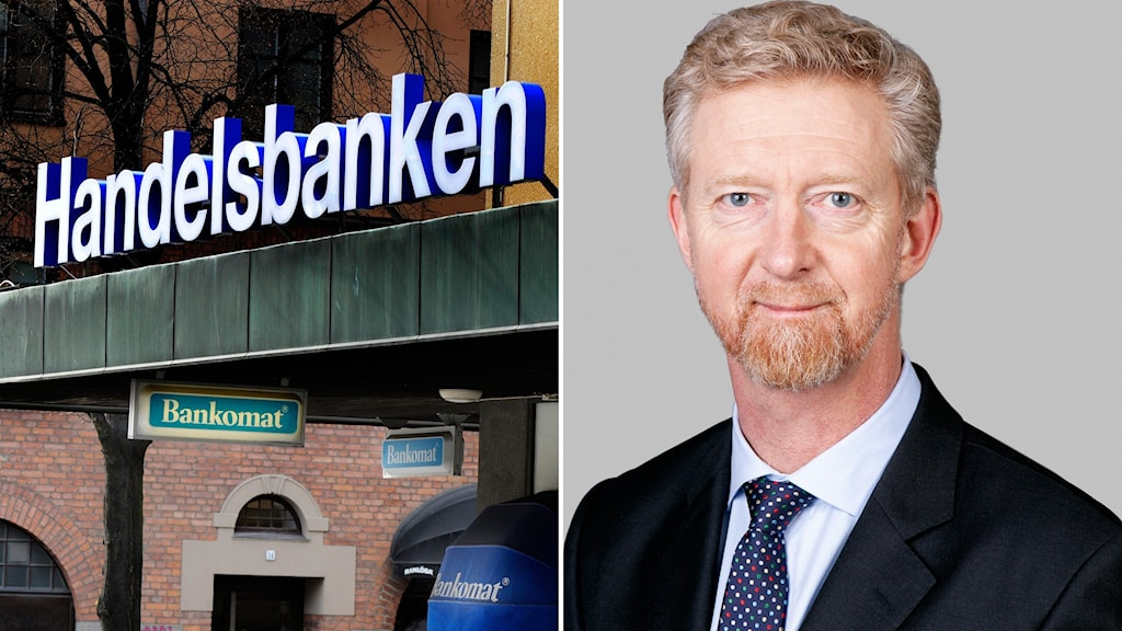 Montage med handelsbankens kontor och kommunikationschefen Jan Larsson.