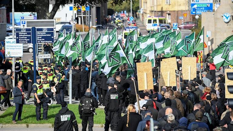 Göteborg, nazister demonstrerar.