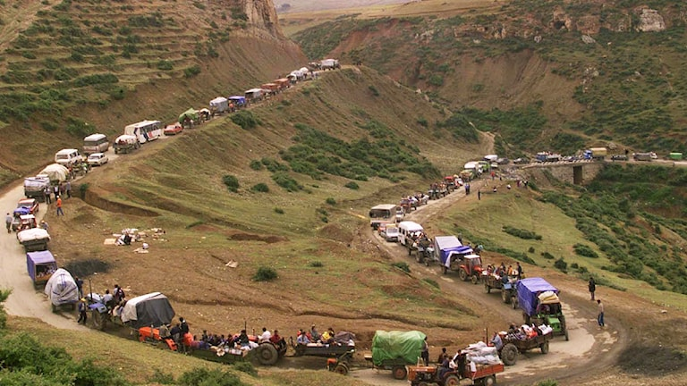 Kosovoalbaner på flykt undan kriget 1999. Foto: David Guttenfelder/Scanpix.