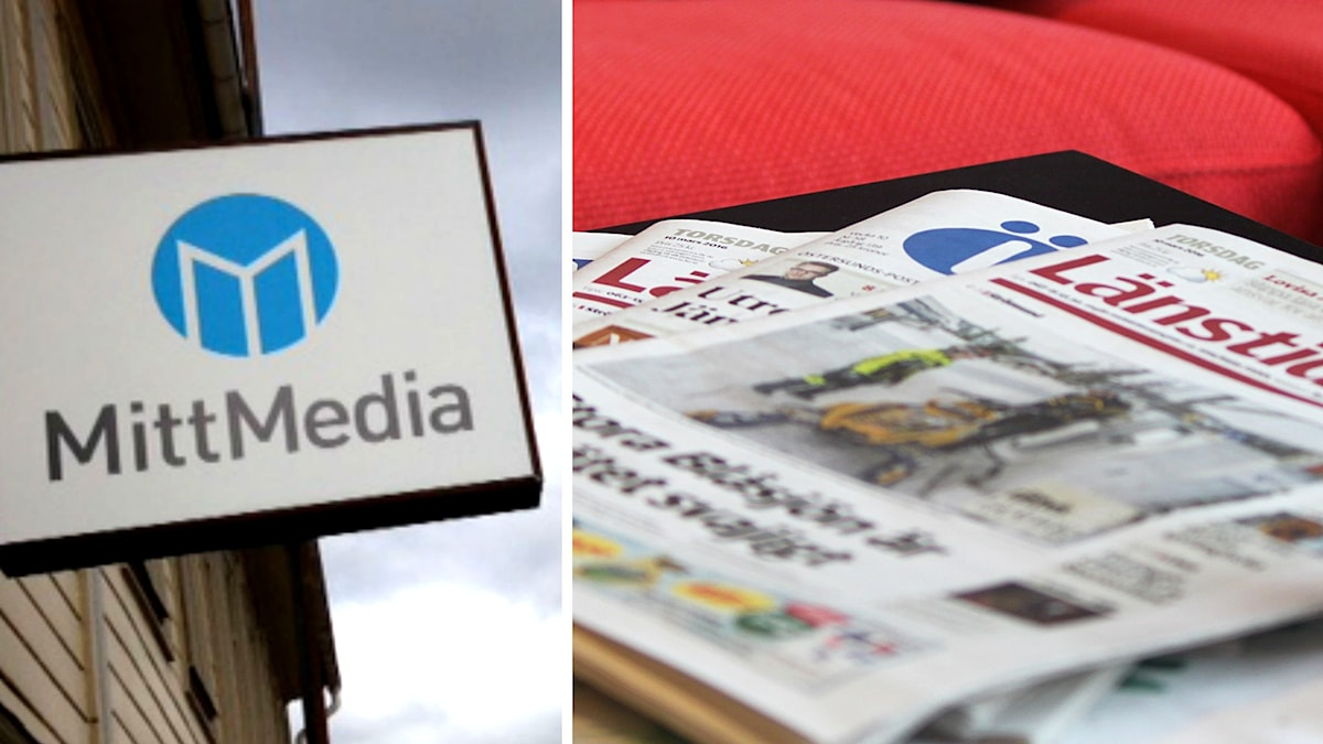 Two photos. One of a Mittmedia sign. Another of newspapers.