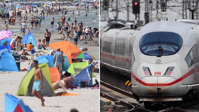 Fullt med folk en varm dag i juni i år på en strand i staden Binz (t.v), ett tåg på stationen i Frankfurt (t.h).
