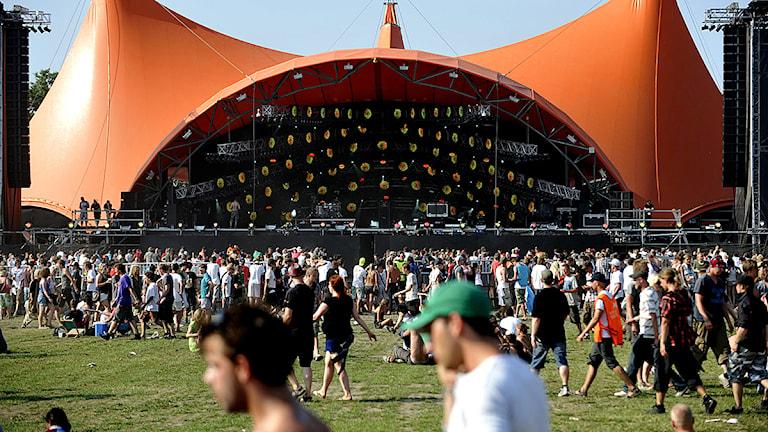 Roskildefestivalens största scen köptes av The Rolling Stone efter deras Europaturné 1978. Foto: Pontus Lundahl/Scanpix.