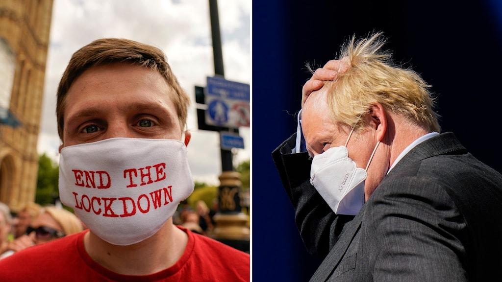 """En demonstrant bär en mask med texten """"End the lockdown"""" och Boris Johnson."""