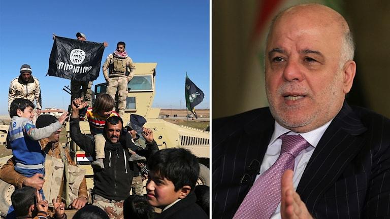 Irakiska soldater firar.