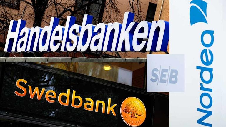 Loggor för Handelsbanken, Swedbank, Nordea och SEB. Foto: Scanpix. Montage: SR.