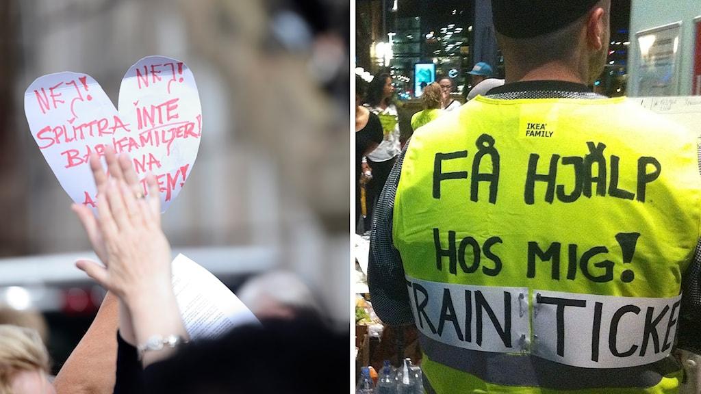 Protester och hjälparbetare.