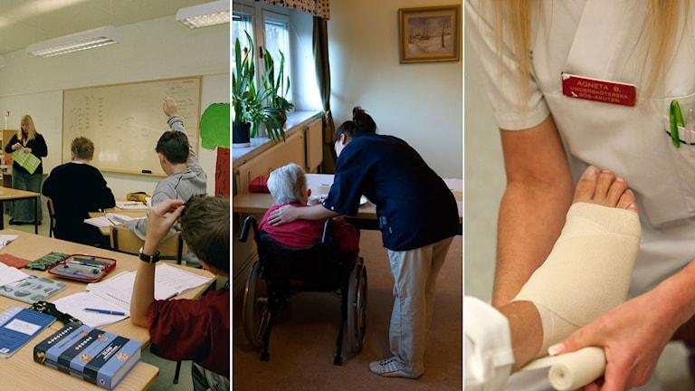Eleverna räcker upp händerna i ett klassrum, vårdbiträde tar hand om en äldre kvinna, en sjuksköterska lägger om en skadad fot.