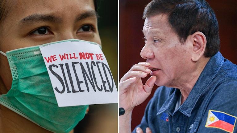 En demonstrant och Filippinernas president Rodrigo Duterte.