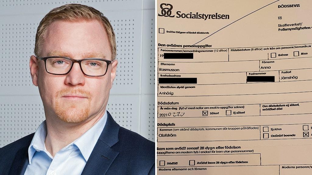 Tobias Wijk, verksamhetsexpert på Skatteverket och dödsbeviset som Anna Rasmussen fick.