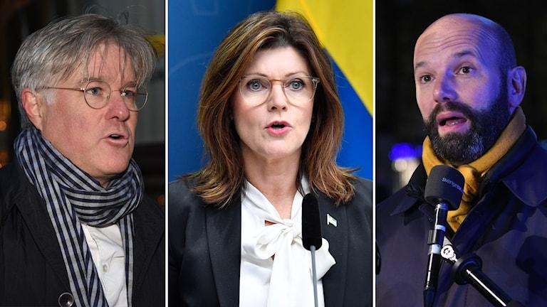PTK:s förhandlingsledare Martin Wästfelt, arbetsmarknadsminister Eva Nordmark (S) och Mattias Dahl, vice vd på Svenskt näringsliv.