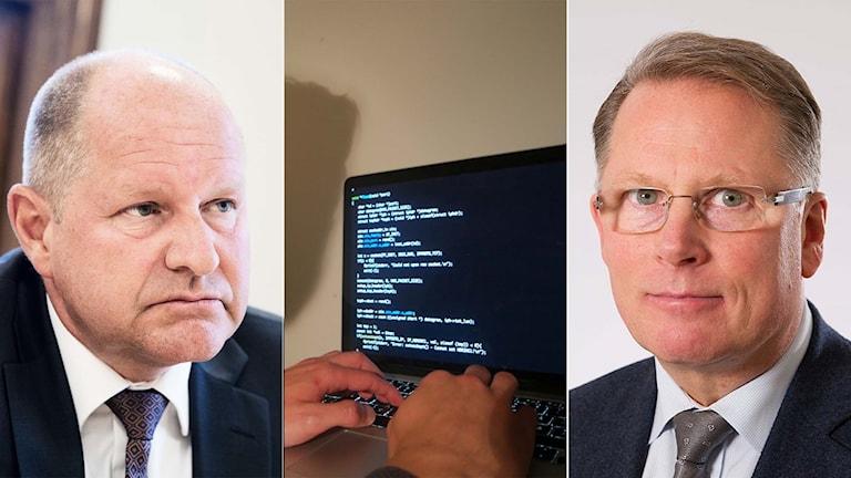 Rikspolischef Dan Eliasson, dator, Polisens it-chef Tomas Landeström.