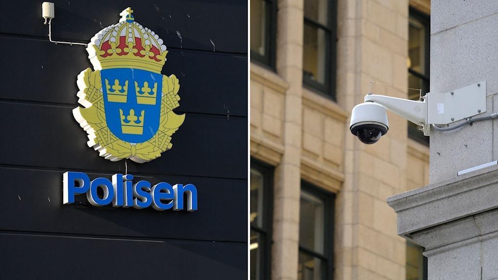 polisens logga och övervakningskamera