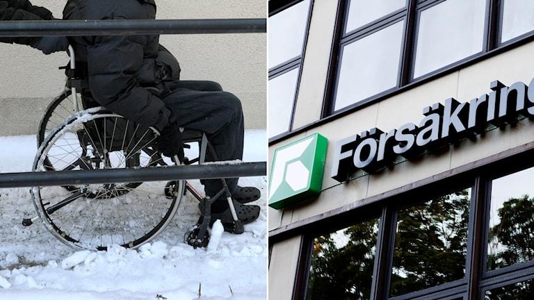 Man i rullstol. Skylt hos Försäkringskassan.