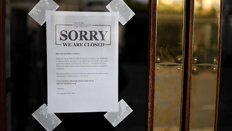 Pubar ska stänga genast i Storbritannien