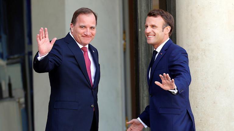 Stefan Löfven och Emmanuel Macron.