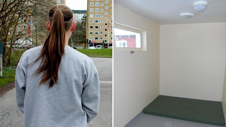 Ung kvinnamed ryggen mot kameran. Isoleringscell med kala väggar, litet fönster högt på väggen och en naken madrass.