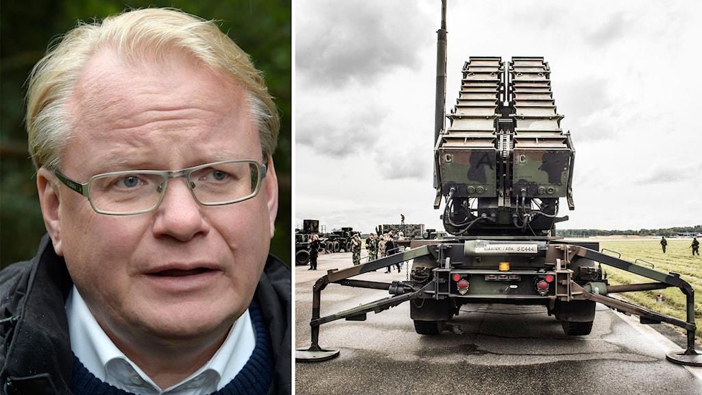 Peter Hultqvist och ett luftvärnssystem