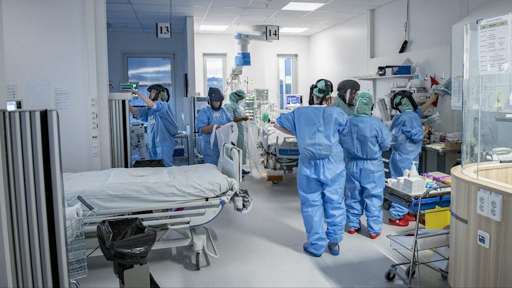 Vårdpersonal med blå overaller och skyddsutrustning med masker över huvudet omringar en sjukhussäng, omgiven av teknisk utrustning, på en IVA-avdelning.