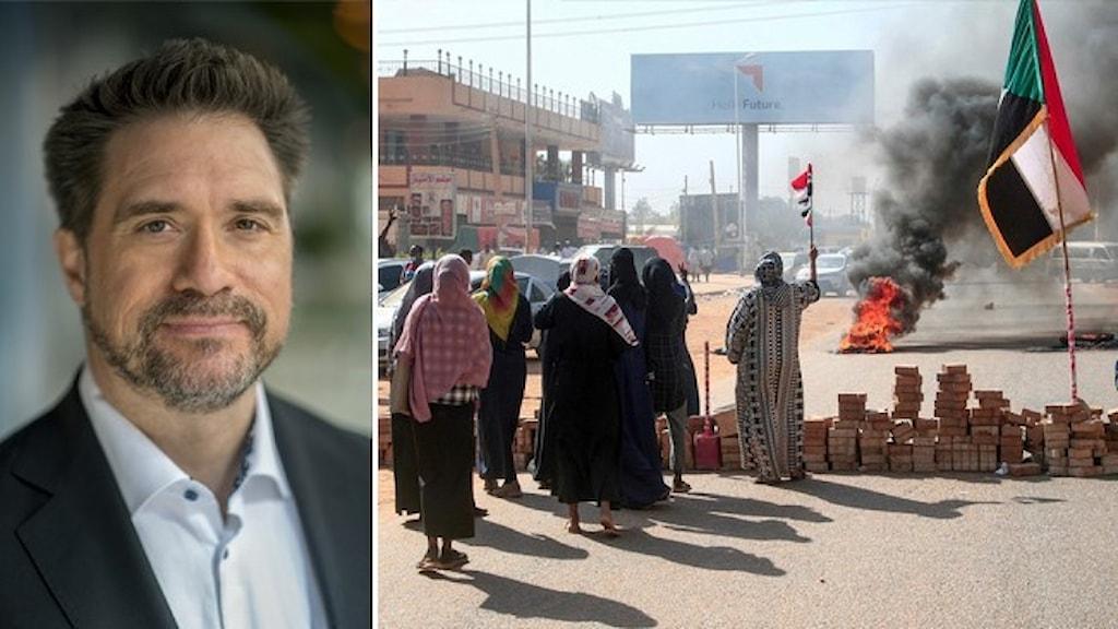Porträtt av Erik Halkjaer, ordförande för Reportrar utan gränser, och protester i Sudan där en grupp människor tänt eld på ett bildäck och gjort en vägblockad av tegelstenar.