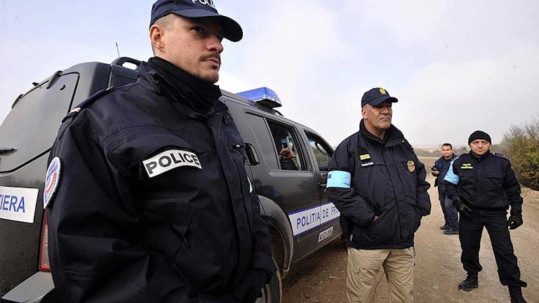 Frontex-poliser i Grekland. Foto: Nikolas Giakoumidis/Scanpix.