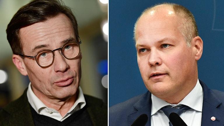 Bildsplit på Moderaternas partiledare Ulf Kristersson och justitie- och migrationsminister Morgan Johansson (S).