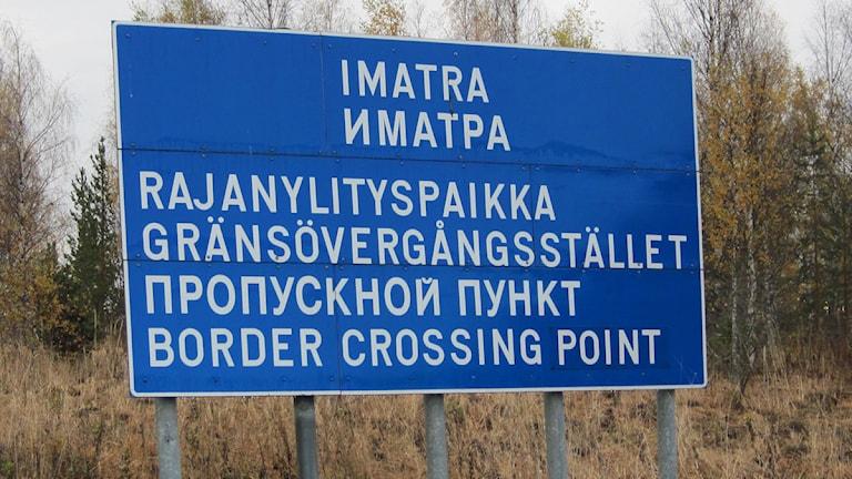 Skylt från det ryskinfluerade Imatra. Foto: Christer Fridén/Sveriges Radio.