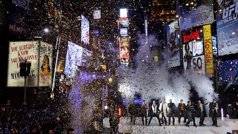 Nyår på Times Square i New York. Foto:Seth Wenig/TT