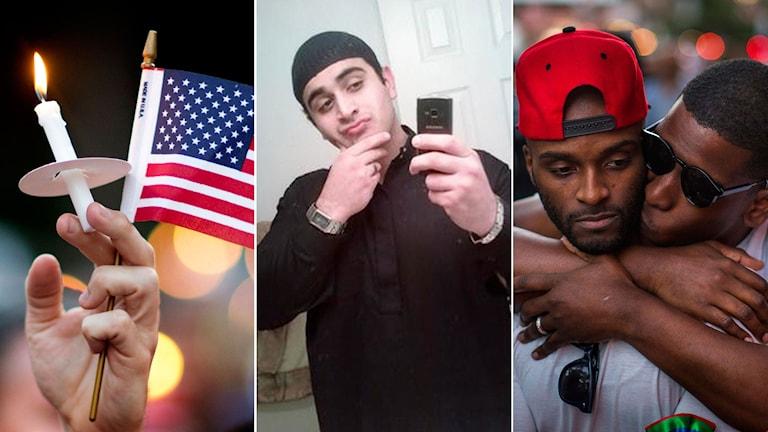 Hand håller i ljus och amerikanska flaggan. Omar Mateen. Två män håller om varandra.