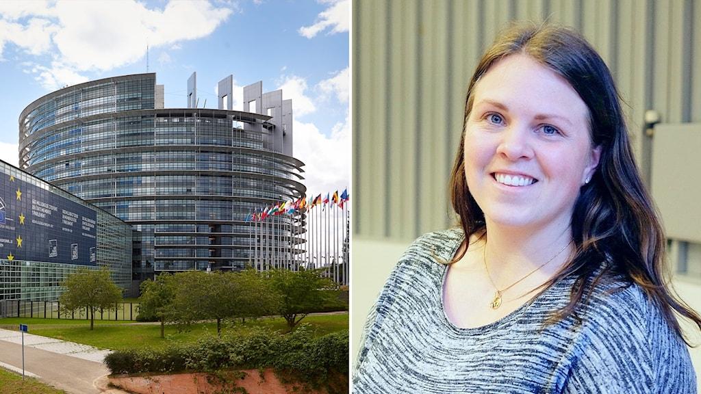 Delad bild: EU-parlamentet och kvinna i grå kofta.